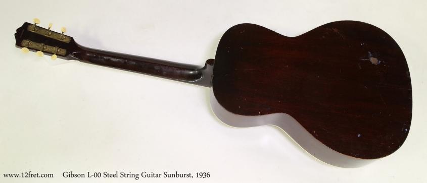 Gibson L-00 Steel String Guitar Sunburst, 1936  Full Rear View