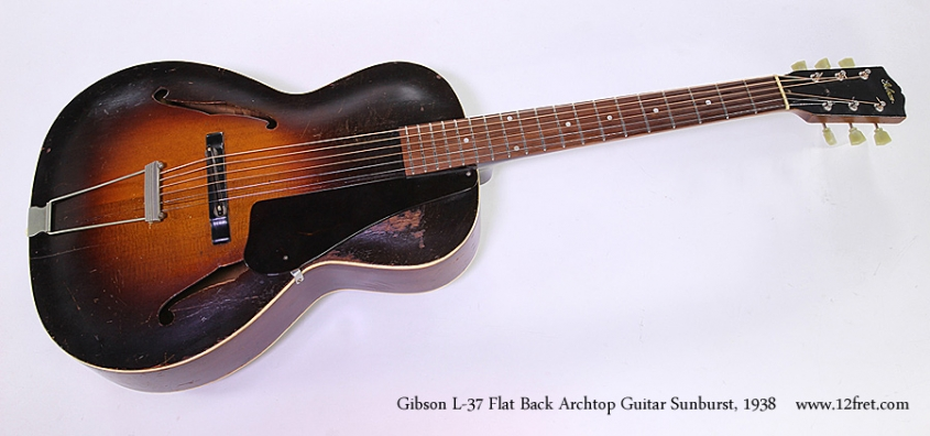 Gibson L-37 Flat Back Archtop Guitar Sunburst, 1938 Full Front View