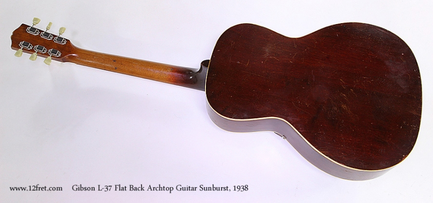 Gibson L-37 Flat Back Archtop Guitar Sunburst, 1938 Full Rear View