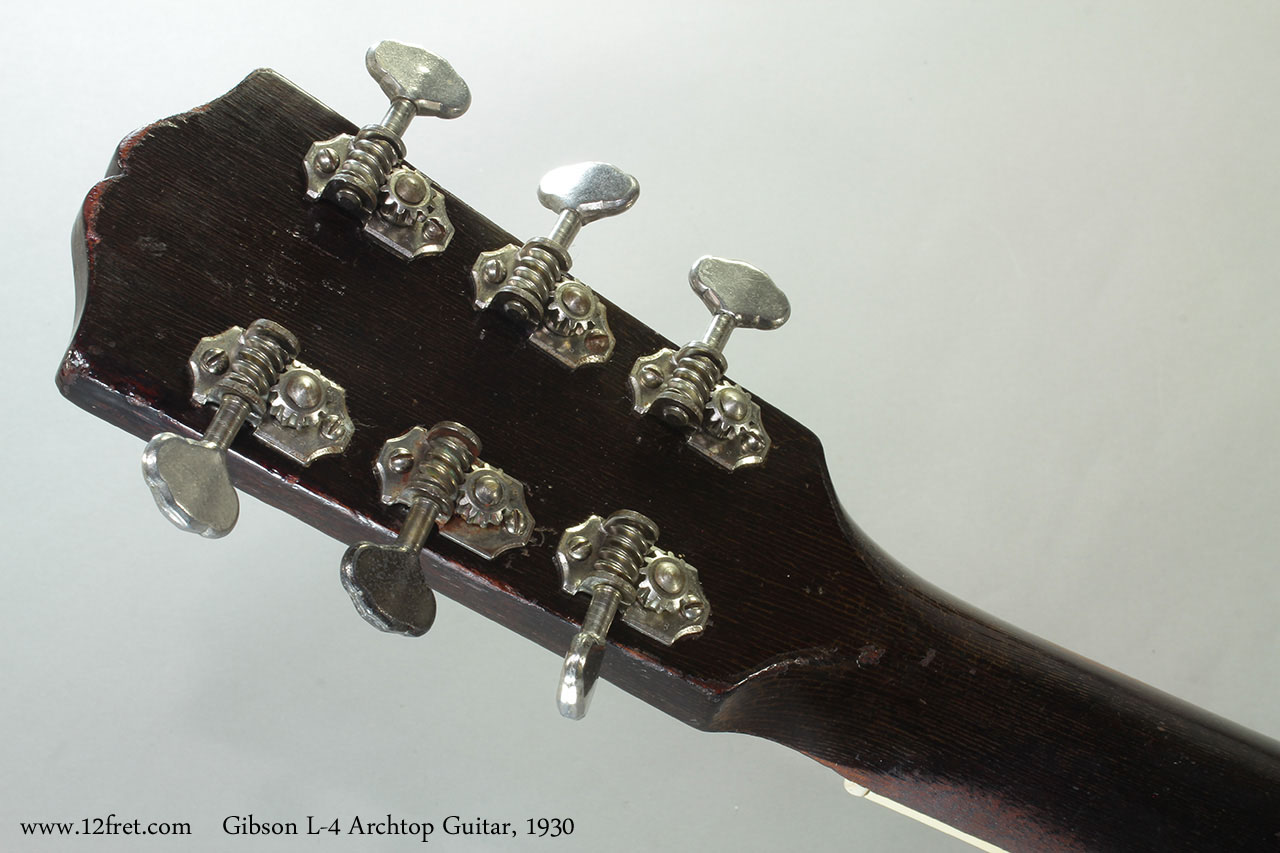 Gibson L-4 Archtop Guitar, 1930 Head Rear