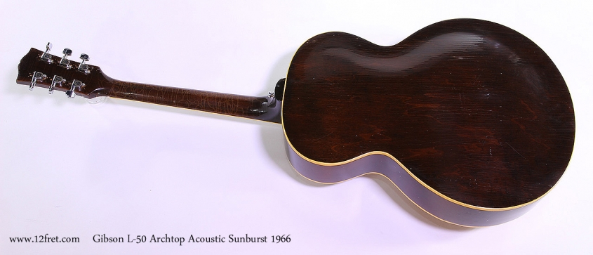 Gibson L-50 Archtop Acoustic Sunburst 1966 Full Rear View