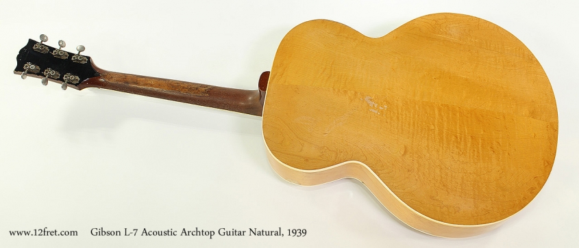 Gibson L-7 Acoustic Archtop Guitar Natural, 1939 Full Rear View