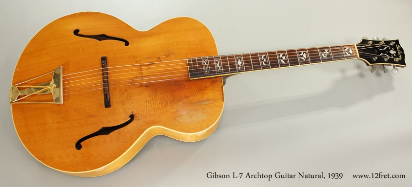 Gibson L-7 Archtop Guitar Natural, 1939 Full Front View