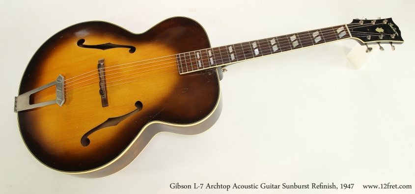 Gibson L-7 Archtop Acoustic Guitar Sunburst Refinish, 1947  Full Rear View