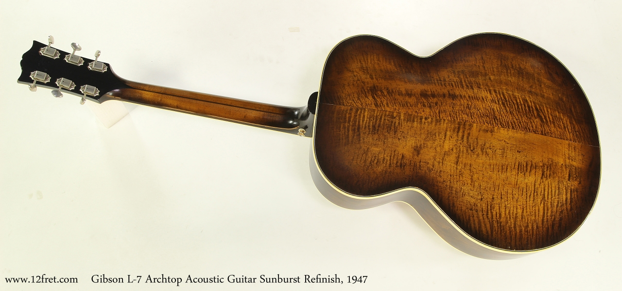Gibson L-7 Archtop Acoustic Guitar Sunburst Refinish, 1947  Full Front View