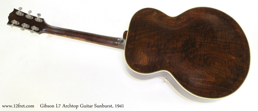 Gibson L7 Archtop Guitar Sunburst, 1941   Full Rear View