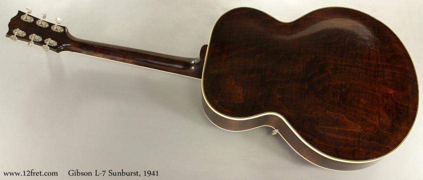 Gibson L7 Archtop Sunburst 1941 full rear view