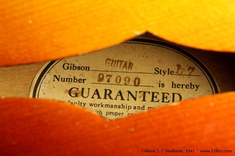 Gibson L7 Archtop Sunburst 1941 label