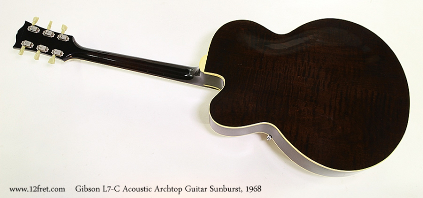 Gibson L7-C Acoustic Archtop Guitar Sunburst, 1968 Full Rear View