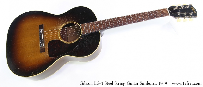 Gibson LG-1 Steel String Guitar Sunburst, 1949 Full Front View