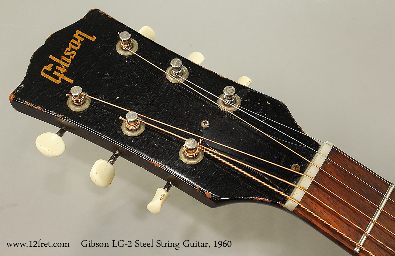 Gibson LG-2 Steel String Guitar, 1960 Head Front View