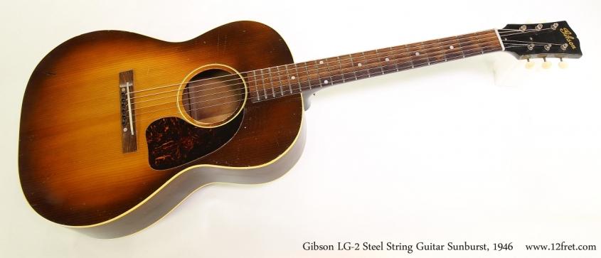 Gibson LG-2 Steel String Guitar Sunburst, 1946  Full Front VIew