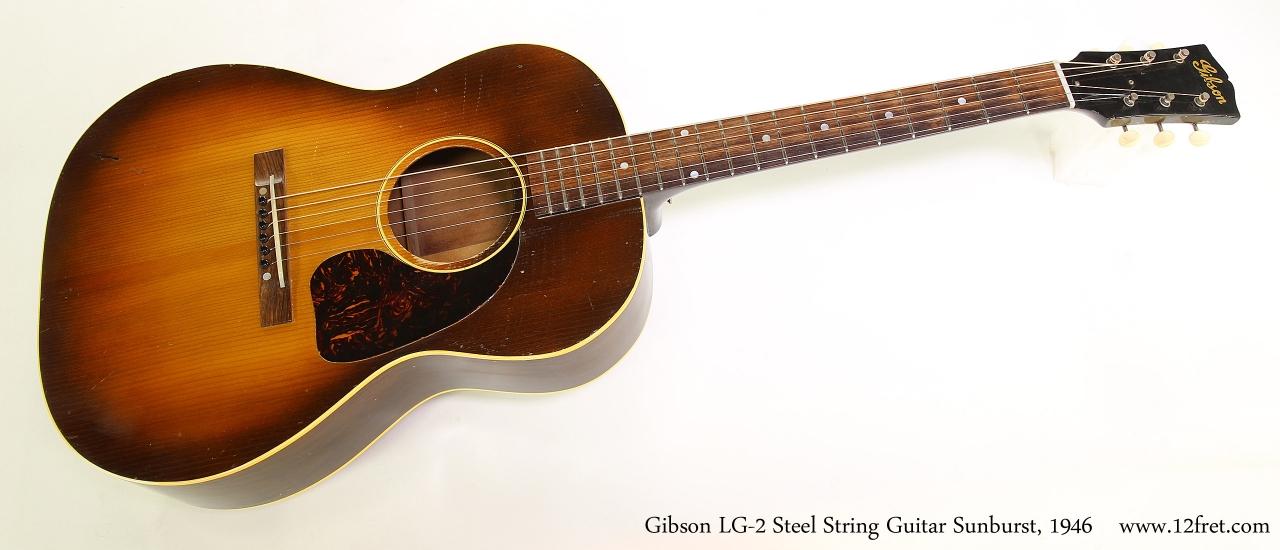 gibson lg 2 steel string guitar sunburst 1946. Black Bedroom Furniture Sets. Home Design Ideas