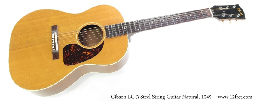 Gibson LG-3 Steel String Guitar Natural, 1949 Full Front View
