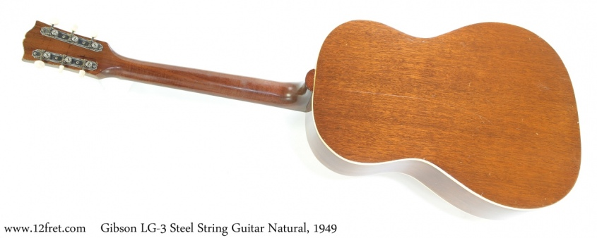 Gibson LG-3 Steel String Guitar Natural, 1949 Full Rear View
