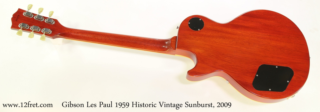 Gibson Les Paul 1959 Historic Vintage Sunburst, 2009 Full Rear View