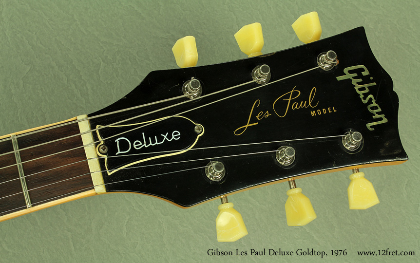 Gibson Les Paul Deluxe Goldtop 1979 head front