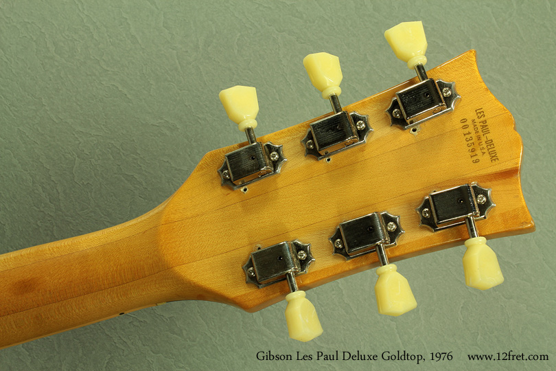 Gibson Les Paul Deluxe Goldtop 1979 head rear
