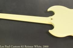Gibson Les Paul Custom 62 Reissue White, 2000 Full Rear View