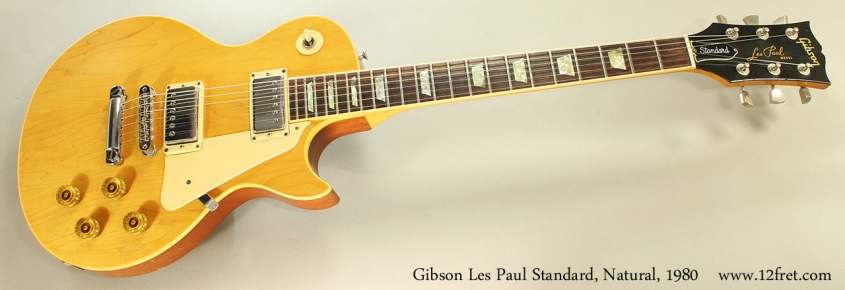 Gibson Les Paul Standard, Natural, 1980 Full Front VIew