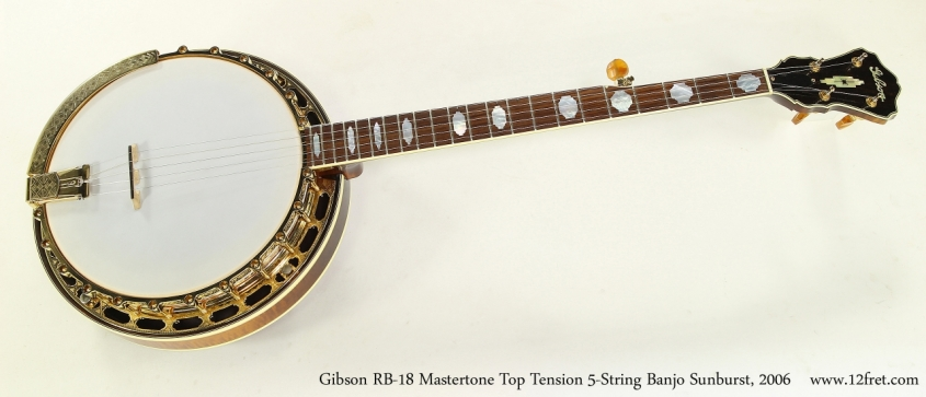 Gibson RB-18 Mastertone Top Tension 5-String Banjo Sunburst, 1996 Full Front View
