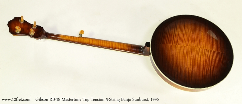 Gibson RB-18 Mastertone Top Tension 5-String Banjo Sunburst, 1996 Full Rear View