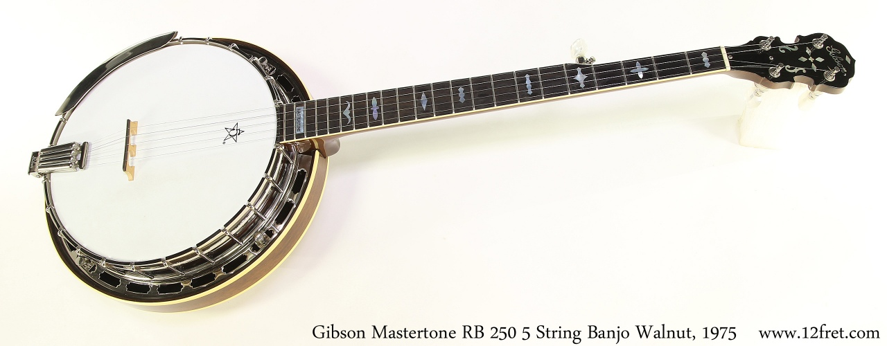 Gibson Mastertone RB 250 5 String Banjo Walnut, 1975 Full Front View