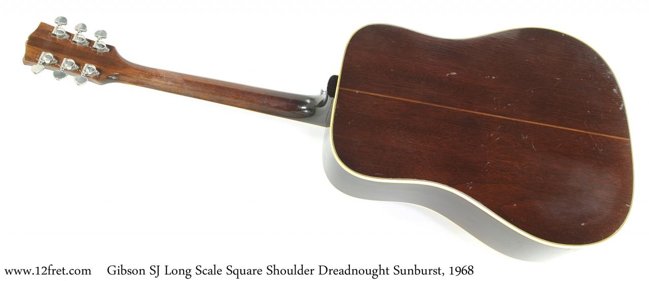 Gibson SJ Long Scale Square Shoulder Dreadnought Sunburst, 1968 Full Rear View