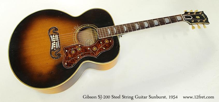 Gibson SJ-200 Steel String Guitar Sunburst, 1954  Full Front View
