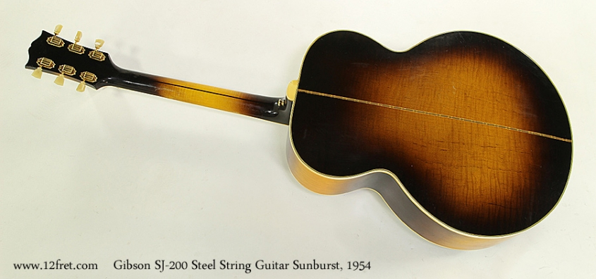 Gibson SJ-200 Steel String Guitar Sunburst, 1954  Full Rear View