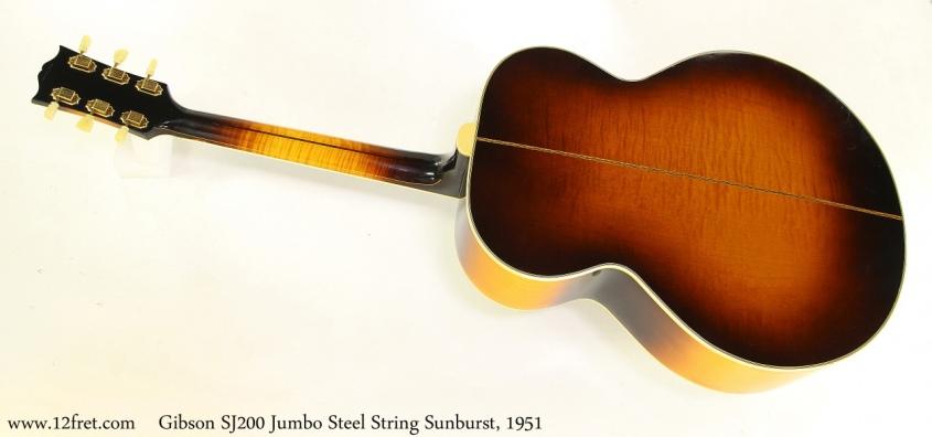 Gibson SJ200 Jumbo Steel String Sunburst, 1951 Full Rear View