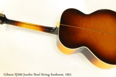 Gibson SJ200 Jumbo Steel String Sunburst, 1951 Full Rear View