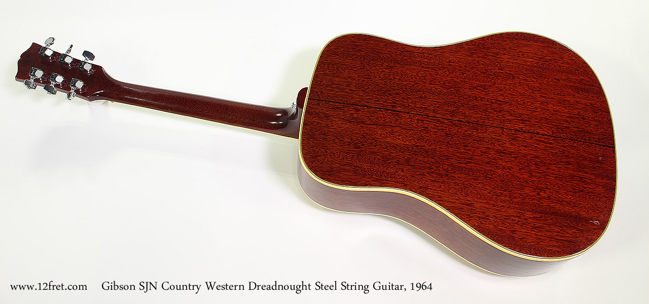 Gibson SJN Country Western Dreadnought Steel String Guitar, 1964 Full Rear View
