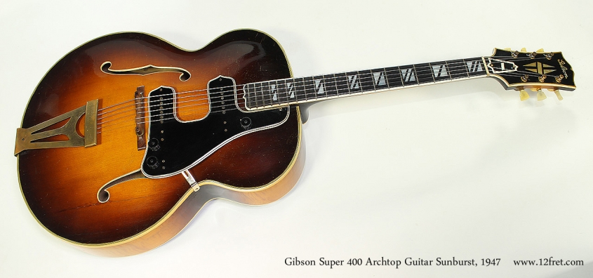 Gibson Super 400 Archtop Guitar Sunburst, 1947 Full Front View