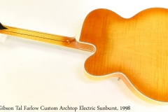 Gibson Tal Farlow Custom Archtop Electric Sunburst, 1998 Full Rear View