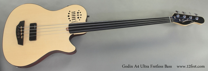 Godin A4 Ultra Fretless Bass full front view