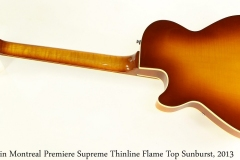 Godin Montreal Premiere Supreme Thinline Flame Top Sunburst, 2013 Full Rear View