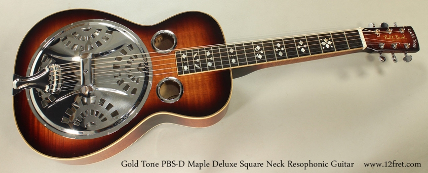 Gold Tone PBS-D Maple Deluxe Square Neck Resophonic Guitar Full Front VIew