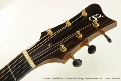 Michael Greenfield G-1 Cutaway Steel String Guitar Brazilian, 2002  Head Front View