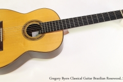 Gregory Byers Classical Guitar Brazilian Rosewood, 2011 Full Front View