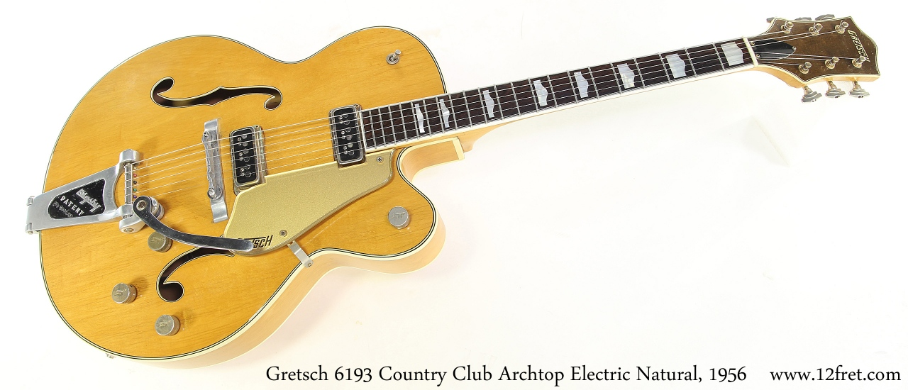 Gretsch 6193 Country Club Archtop Electric Natural, 1956 Full Front View