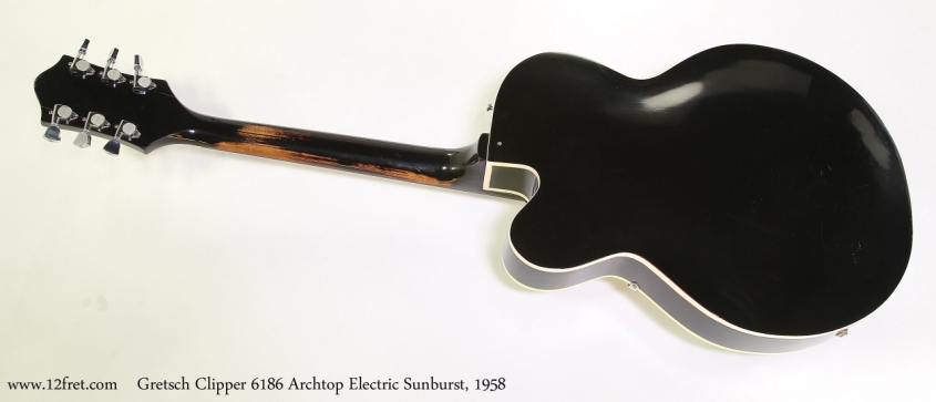 Gretsch Clipper 6186 Archtop Electric Sunburst, 1958  Full Rear View
