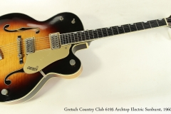 Gretsch Country Club 6195 Archtop Electric Sunburst, 1960 Full Front View