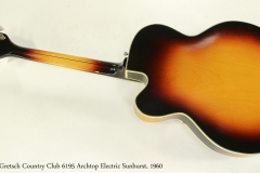 Gretsch Country Club 6195 Archtop Electric Sunburst, 1960 Full Rear View