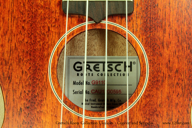 Gretsch Roots Collection Ukuleles label