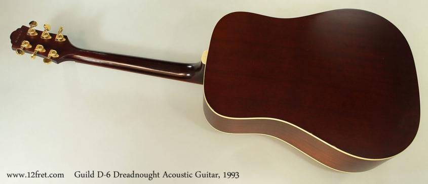 Guild D-6 Dreadnought Acoustic Guitar, 1993 Full Rear View