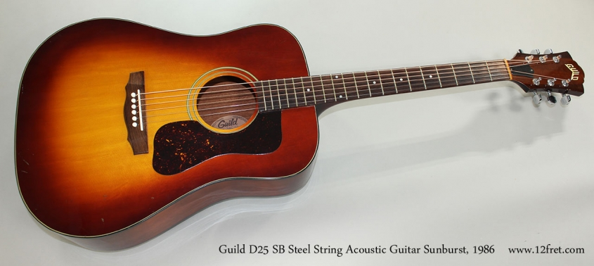 Guild D25 SB Steel String Acoustic Guitar Sunburst, 1986 Full Front View