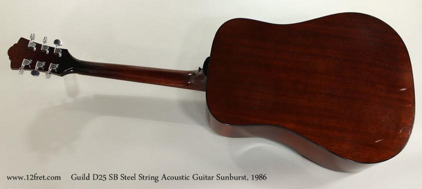 Guild D25 SB Steel String Acoustic Guitar Sunburst, 1986 Full Rear View