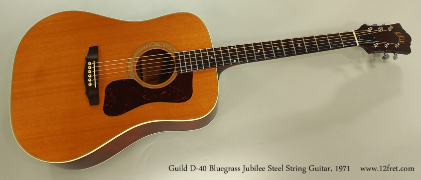 Guild D-40 Bluegrass Jubilee Steel String Guitar, 1971 Full Front View