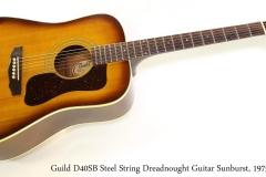Guild D40SB Steel String Dreadnought Guitar Sunburst, 1975   Full Front View